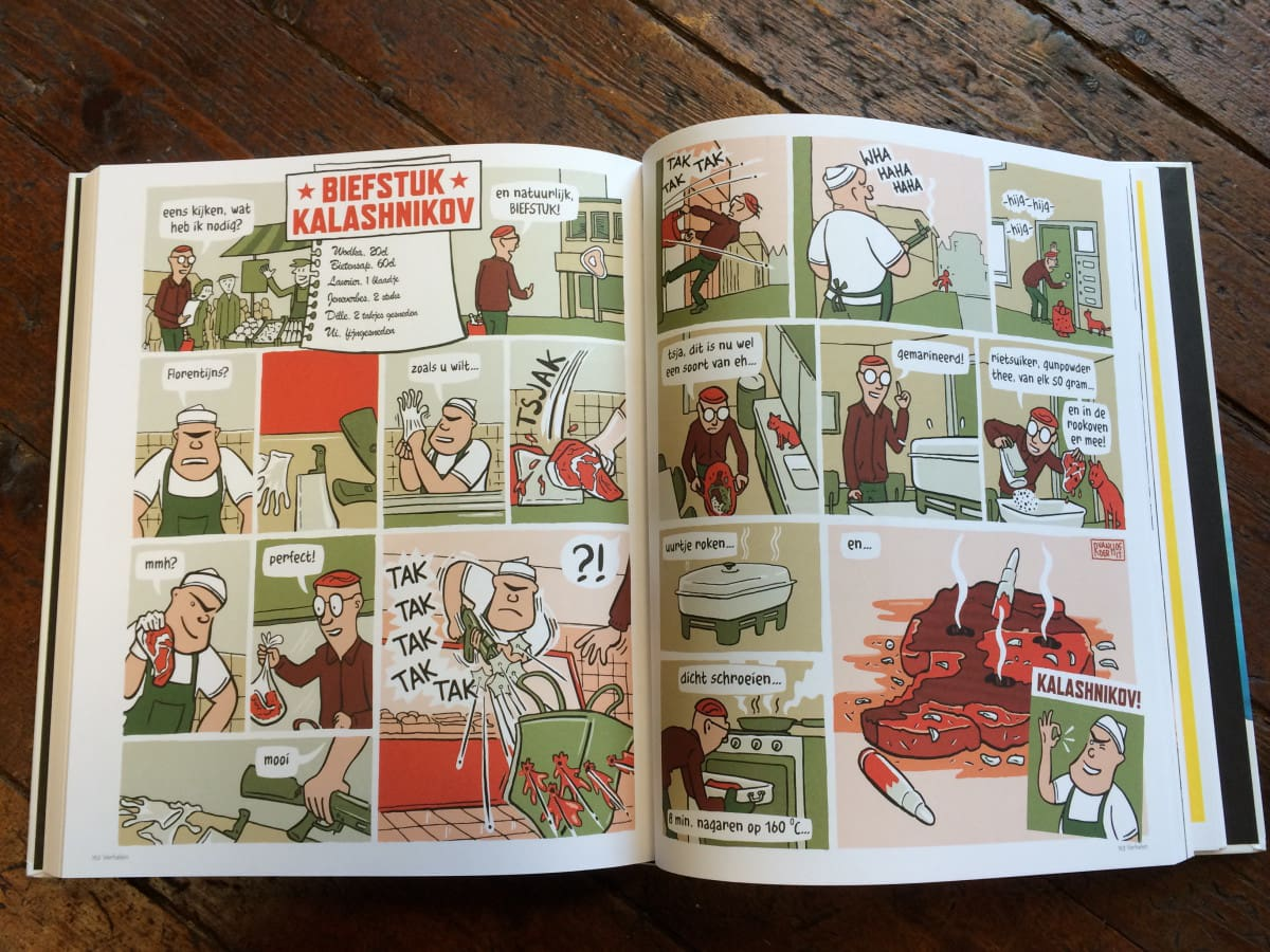 strip recept kookboek comic recipe cooking cookbook creative chef striptekenaar comic artist Ronald van der Heide Utrecht. Ronald is stripmaker, illustrator en maakt infographics.