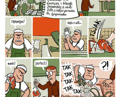 strip klare lijn recept kookboek comic recipe cooking cookbook creative chef striptekenaar comic artist Ronald van der Heide Utrecht. Ronald is stripmaker, illustrator en maakt infographics.