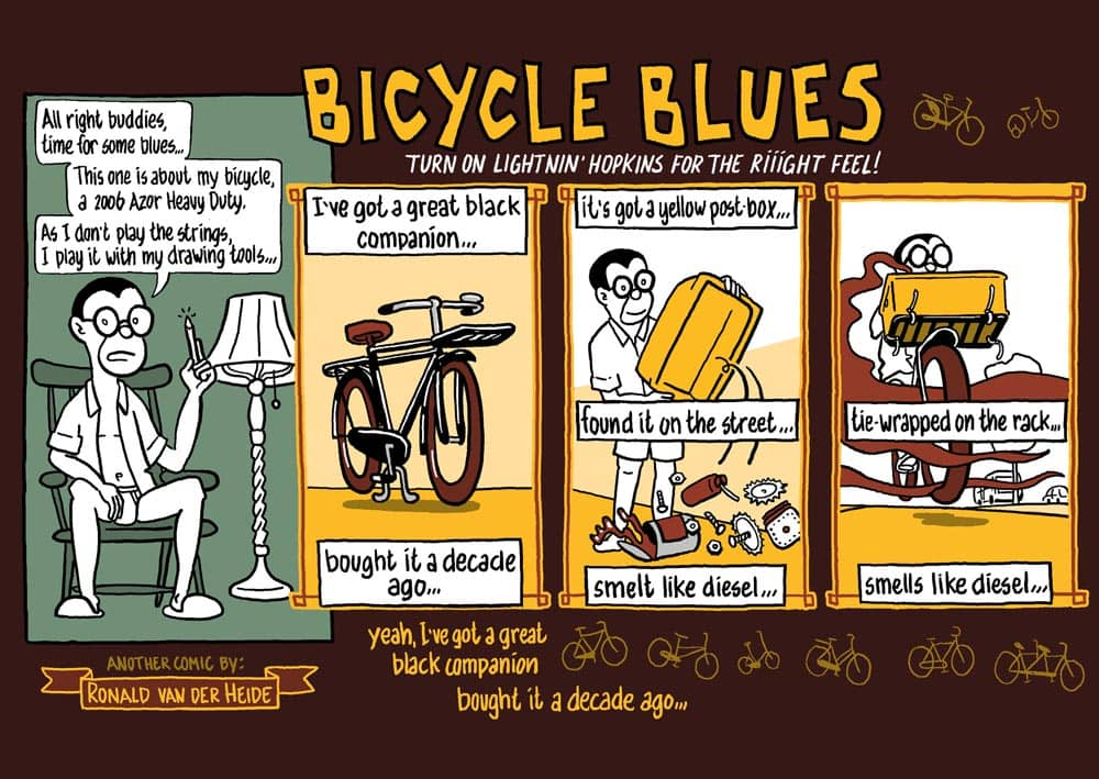 strip fietsen: bicycle blues. striptekenaar stripmaker klare lijn Utrecht Inktpot journalistieke historische strips