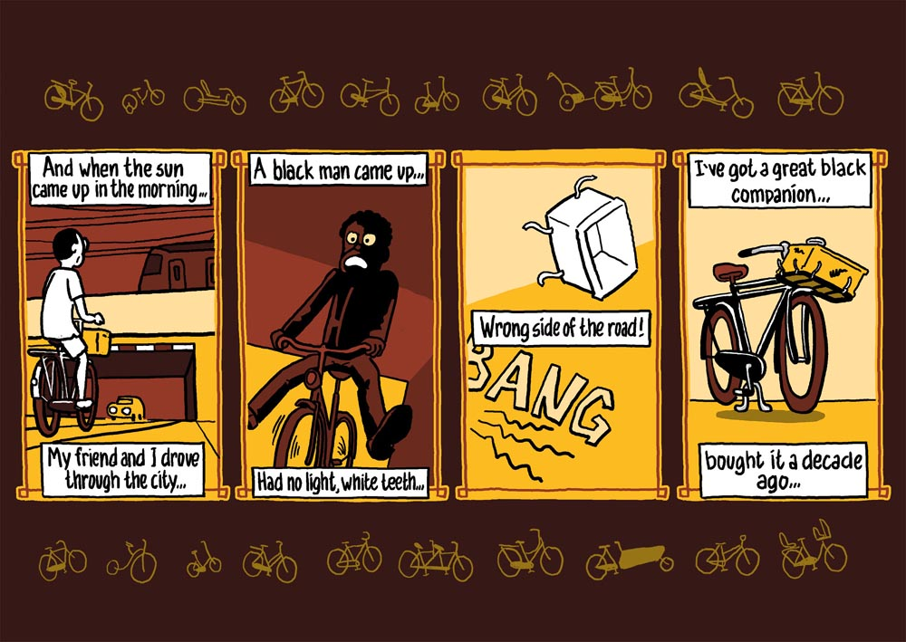 strip fietsen: bicycle blues. striptekenaar stripmaker klare lijn Utrecht Inktpot  historische strips journalistieke