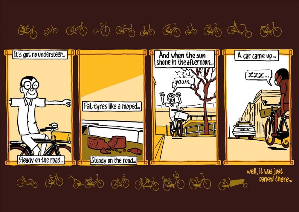 strip fietsen: bicycle blues. striptekenaar historische strips journalistiek stripmaker klare lijn Utrecht Inktpot