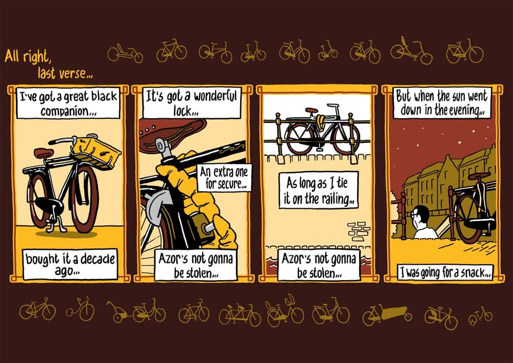 strip fietsen: bicycle blues. stripmaker klare lijn historische strips journalistiek stripmaker Inktpot Utrecht