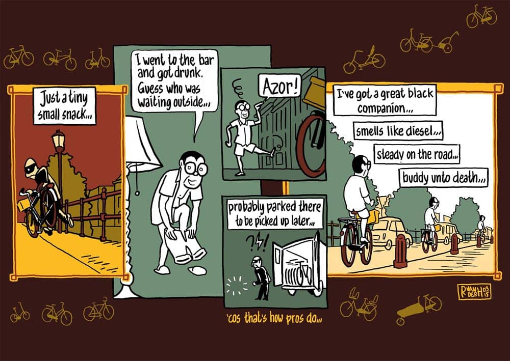 strip fietsen: bicycle blues. striptekenaar journalistiek klare lijn historische strips stripmaker Inktpot Utrecht